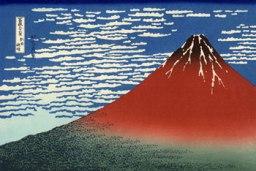 Viento del Sur, cielo despejado (Fuji rojo). Katsushika Hokusai