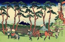 Hodogoya en el Tokaido. Katsushika Hokusai