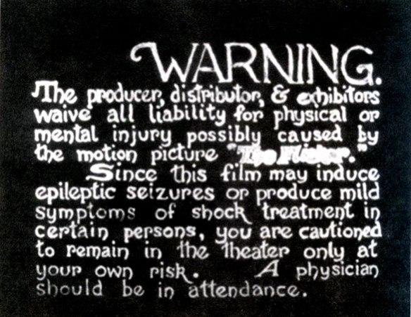 """""""The Flicker"""" de Tony Conrad-Advertencia para el espectador"""